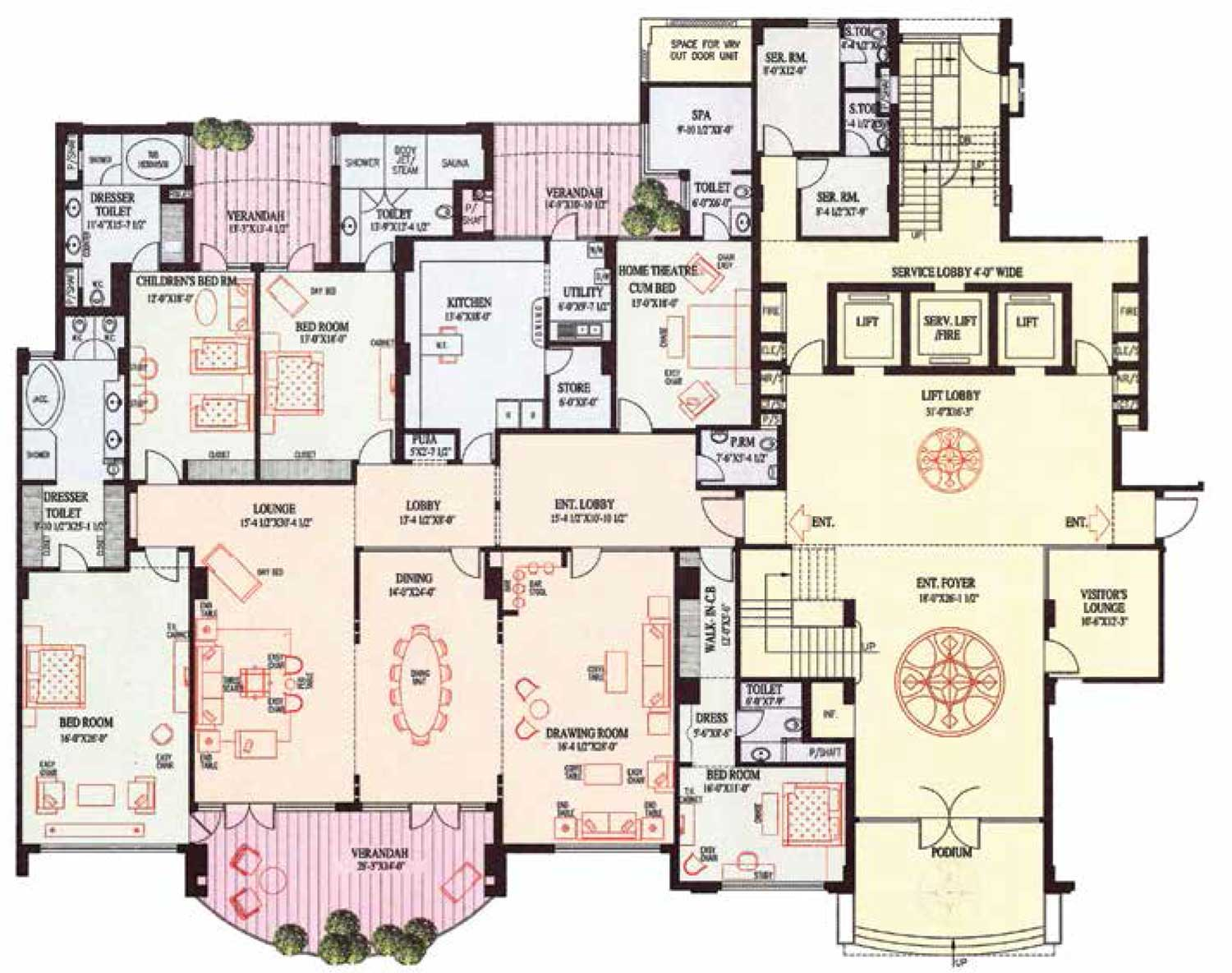 Floor plans ambience caitriona for 4 bhk house plan ground floor